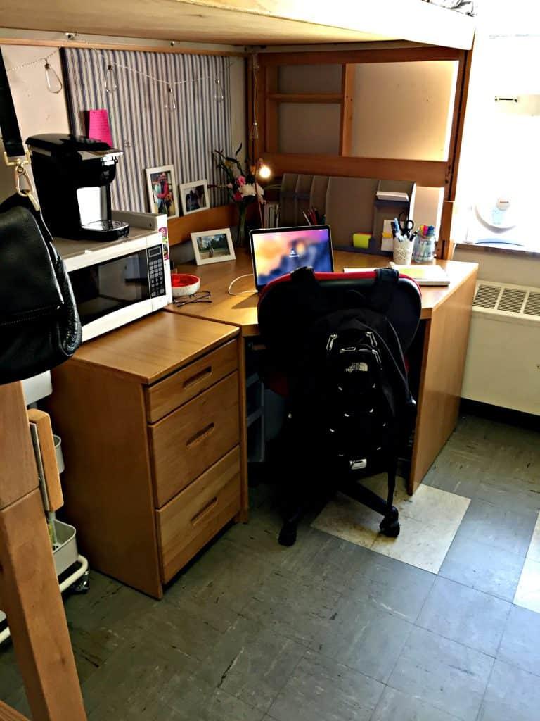 College Dorm Desk Under the bunk bed