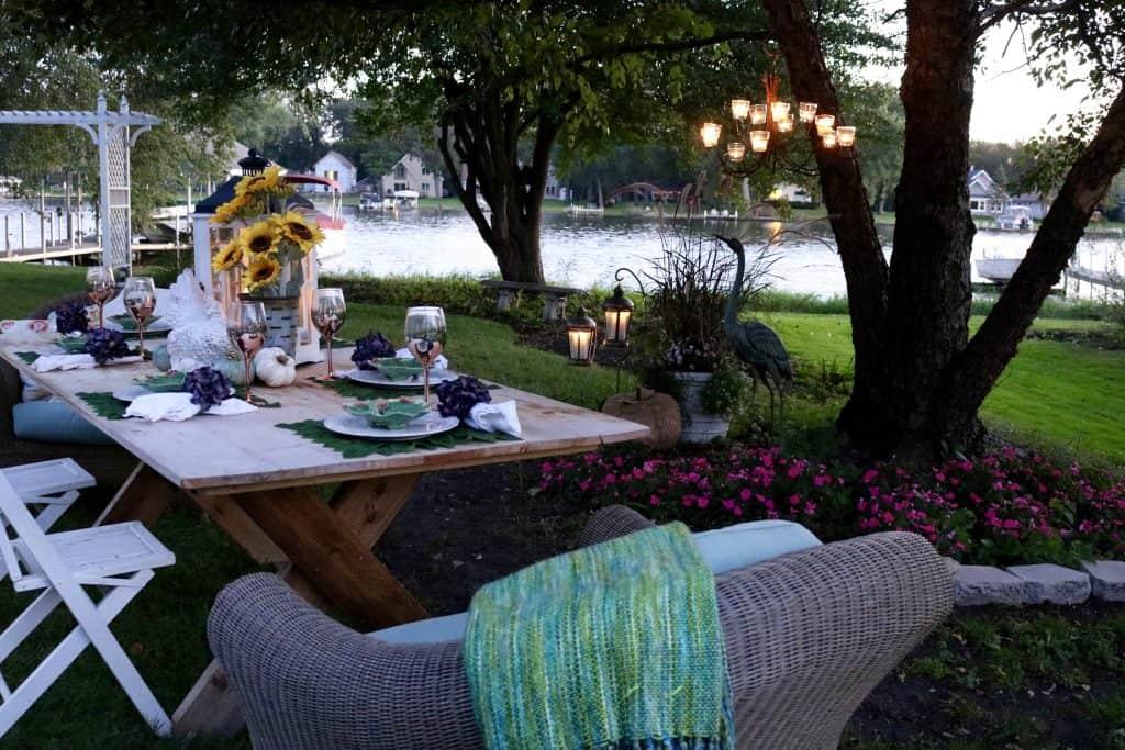Evening Autumn Entertaining Alfresco Tablescapes