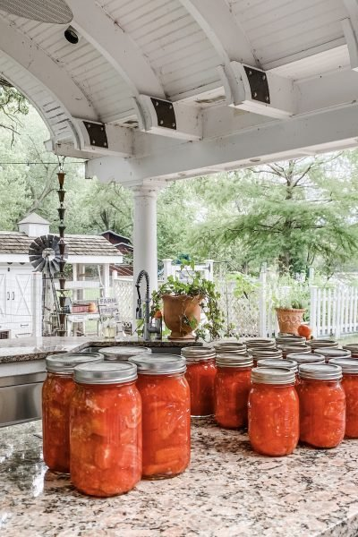 Canning Tomatoes in Our Outdoor Kitchen