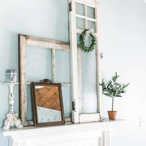 Vintage Windows and Mirrors on a white fireplace mantel