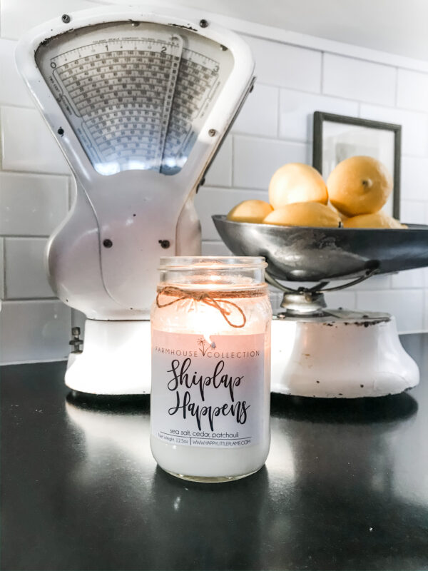 I light the candle in front of my white vintage scale when I'm doing chores around the house
