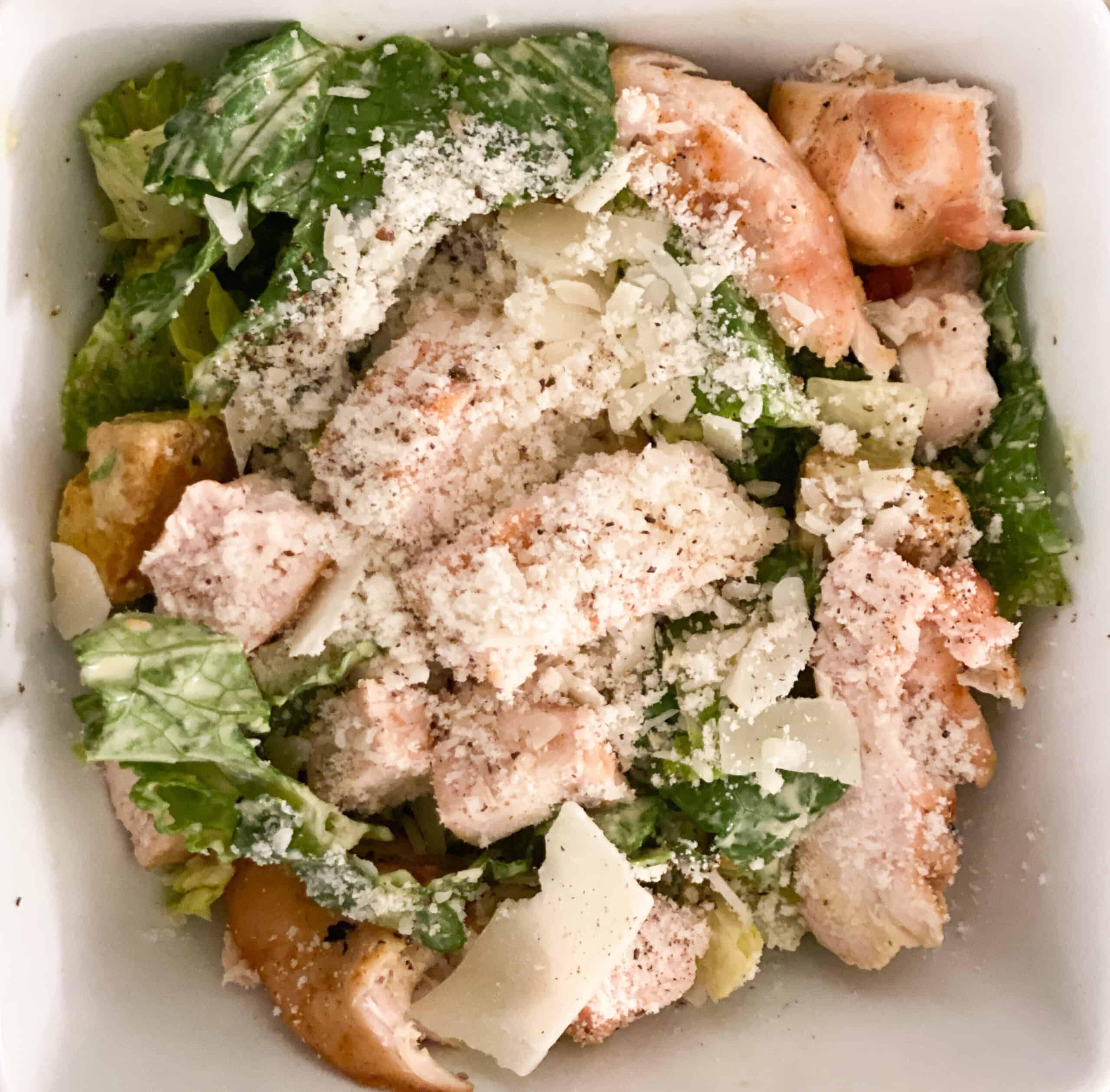 Chicken Ceasar Salad in White Bowl