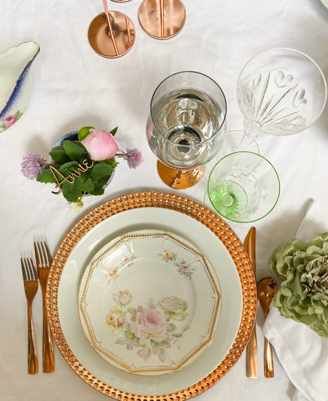 Wedding Tablescape with Vintage Glassware and plates