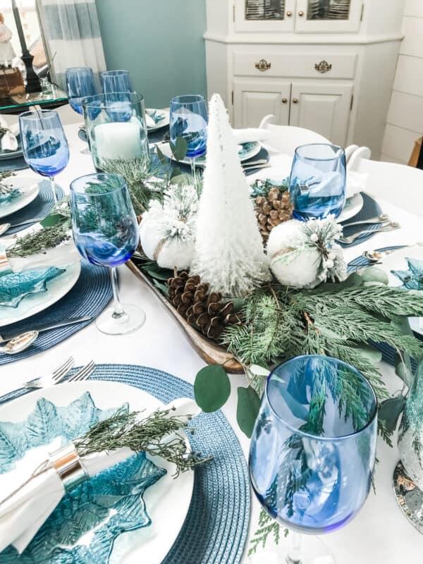 Blue Christmas Tablescape