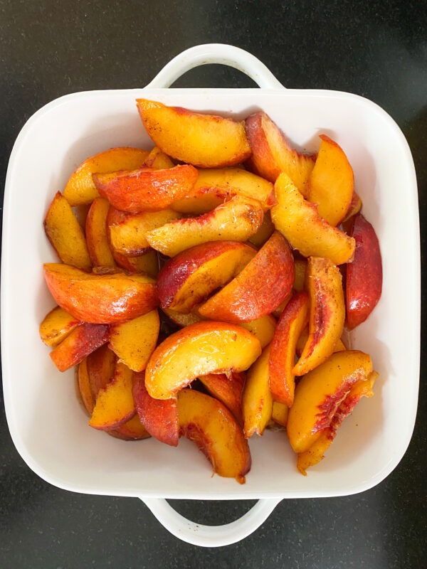 diced peaches with spices and lemon juice