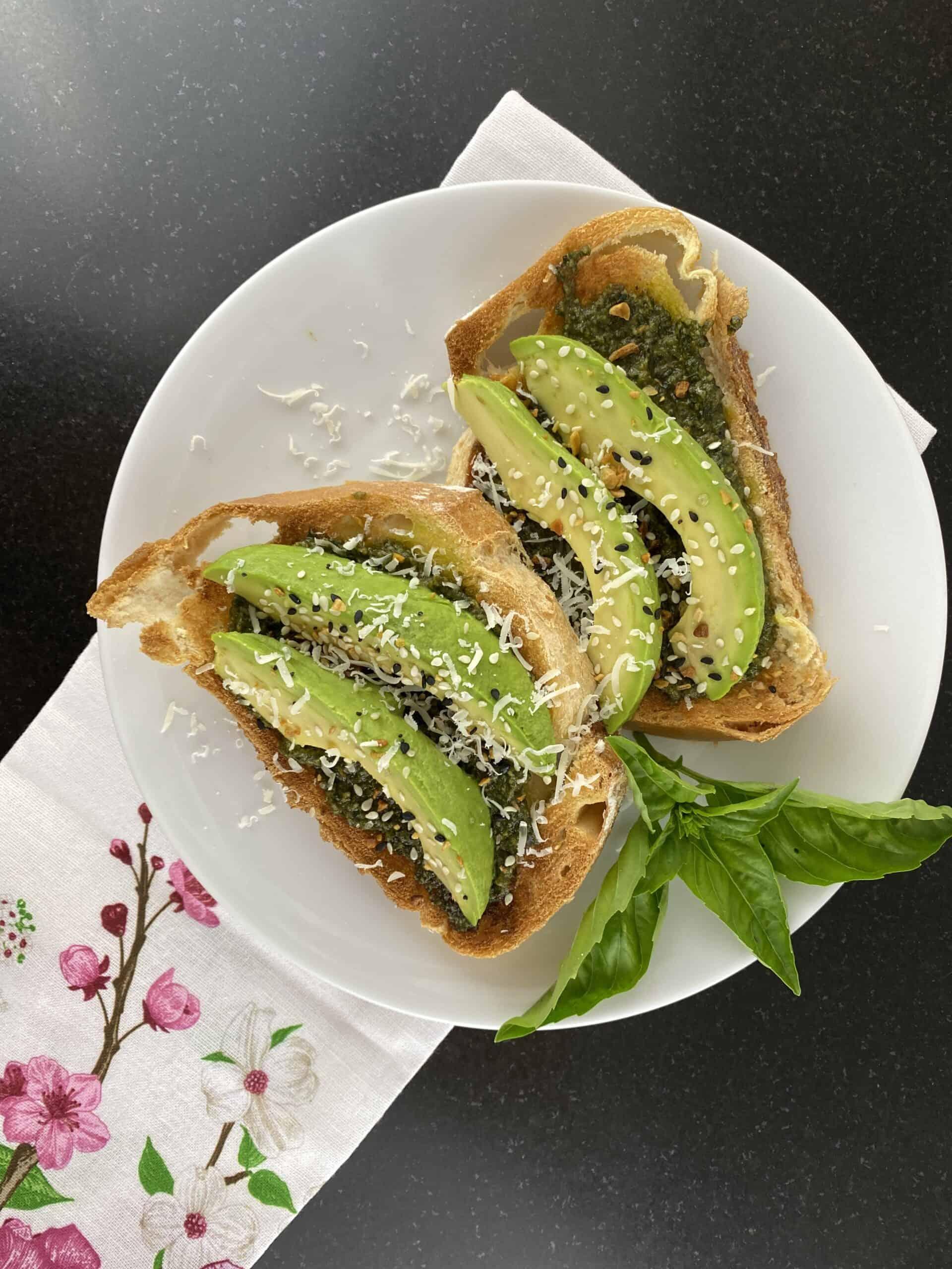 Pesto with Avocado Toast