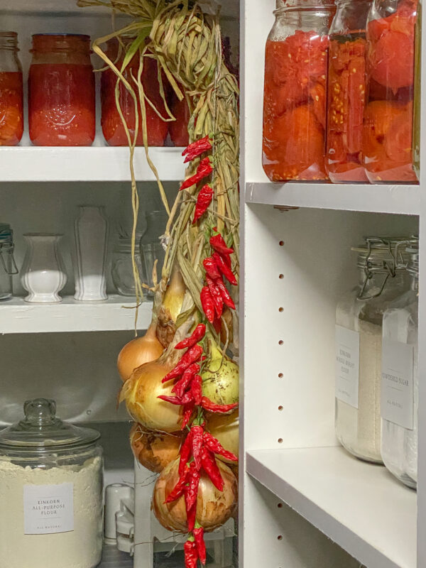 Canned Tomatoes in Pantry
