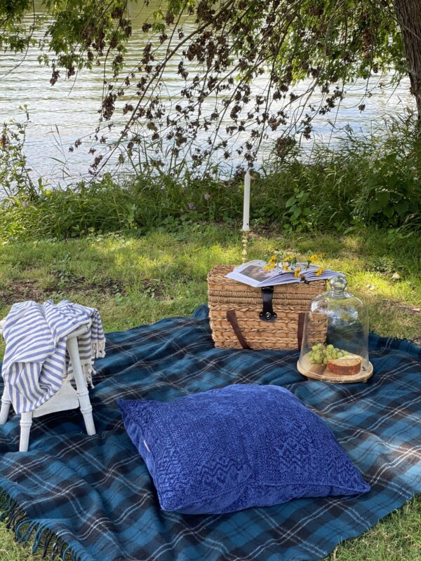 Blue and black plaid blanket on the ground next to water with a picnic basket, some snacks, a pillow and another throw blanket