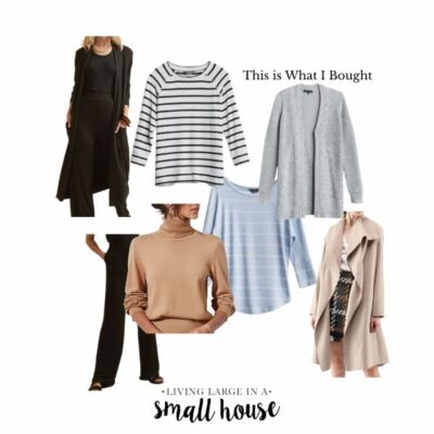 collage with a black sweater coat, black knit pants, camel color turtleneck sweater, black and white striped top, light blue and white striped top, grey cable knit cardigan, sand colored duster coat