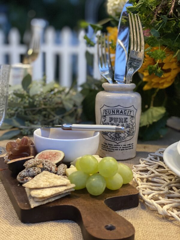 Charcuterie Boards and the English Advertising Jars holding the Flatware