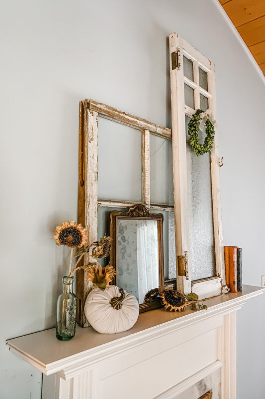 Fireplace mantel with fall decor