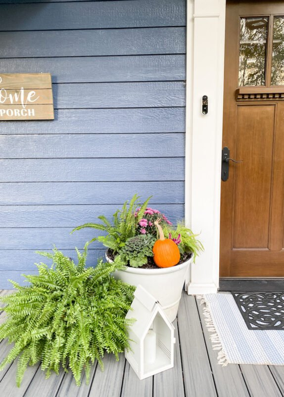 White pots next to the door with new flowers. I put the ferns that were hanging all summer and tucked them in by the pots to add more foliage by the doors