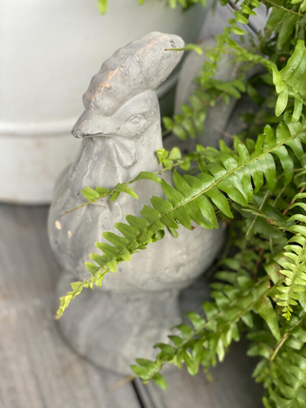 A cute vintage cement chicken peeking out from the pots on my front porch