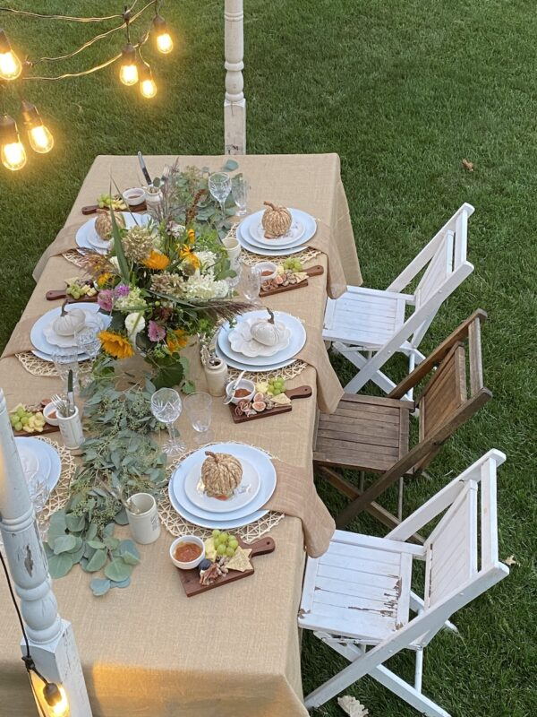 View looking down on the harvest tablescape
